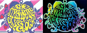 The apparently-official SAC logo, as pictured on the front of The Best Of Strawberry Alarm Clock Vol. 1 (on the left) and the reworked and on the band's website (right, as of 2010).